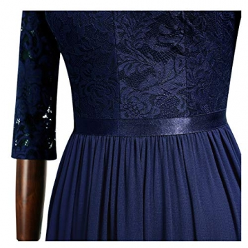 MIUSOL Abendkleider Damen Elegant Vintage Hochzeit Spitze Chiffon Faltenrock Prom Langes Kleid Navy Blau L - 2