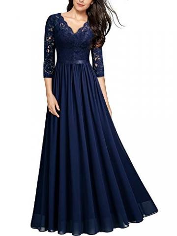 MIUSOL Abendkleider Damen Elegant Vintage Hochzeit Spitze Chiffon Faltenrock Prom Langes Kleid Navy Blau L - 1