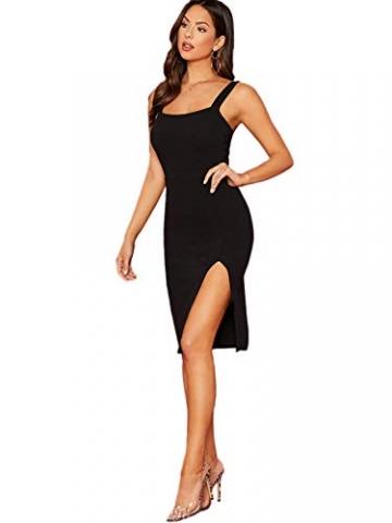 DIDK Damen Kleid Trägerkleid Bodycon Schulterfrei Partykleid Einfarbig Freizeitkleid mit Schlitz Schwarz L - 2