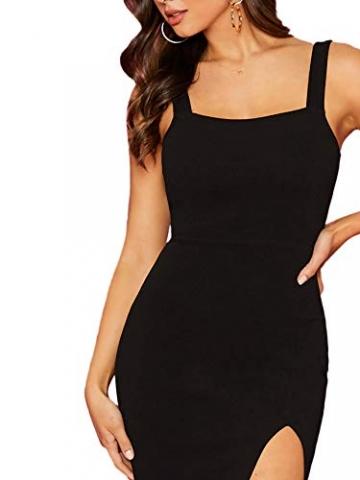 DIDK Damen Kleid Trägerkleid Bodycon Schulterfrei Partykleid Einfarbig Freizeitkleid mit Schlitz Schwarz L - 4