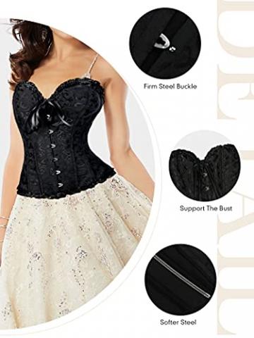 FeelinGirl Frauen Bridal Wäsche schnürt sich oben Satin ohne Knochen Korsett mit G-Schnur,Schwarz,Euro: 36 (M) - 5