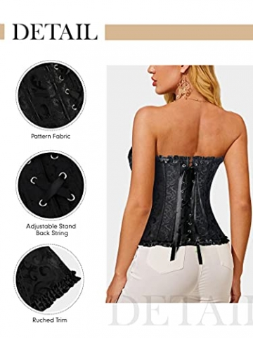 FeelinGirl Frauen Bridal Wäsche schnürt sich oben Satin ohne Knochen Korsett mit G-Schnur,Schwarz,Euro: 36 (M) - 6
