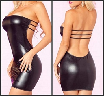 FONDBERYL Wetlook Minikleid Rückenfrei Lackleder Body Erotik Damen Body hoch Geschnittenen Badeanzug Bikini Trikot Top Clubwear Damen Sexy Kleider Clubwear Clubbing Partykleid, S, Type 4 - 2