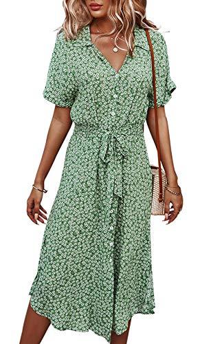 Jiraewh Damen Blumen Sommerkleid Knopf Kurzarm V-Ausschnitt Lose Knielang Kleid High Waist Midi-Hemdkleid Strandkleider Polka Dots Knopfkleid(Grün-3038,S) - 1