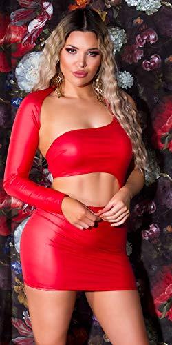 Koucla Kleid Wetlook One-Shoulder Minikleid GoGo (Rot) - 4