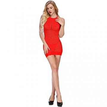 LOVELYBOBO 2-Pack Damen Kleid elastisch und flexibel tragbar Einheitsgröße mit Clubwear Partykleid V-Ausschnitt Rückenfreies (schwarz+rot) - 3