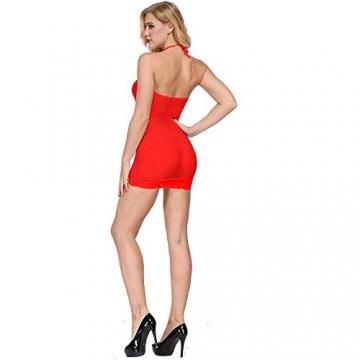 LOVELYBOBO 2-Pack Damen Kleid elastisch und flexibel tragbar Einheitsgröße mit Clubwear Partykleid V-Ausschnitt Rückenfreies (schwarz+rot) - 5