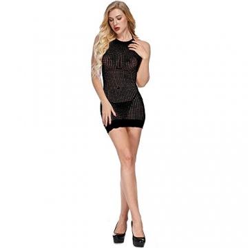 LOVELYBOBO 2-Pack Damen Kleid elastisch und flexibel tragbar Einheitsgröße mit Clubwear Partykleid V-Ausschnitt Rückenfreies (schwarz+rot) - 6