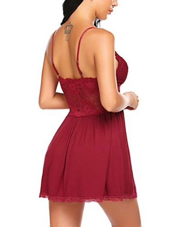 Lucyme Negligee für Damen Nachtwäsche Sleepwear Nachtkleid mit Spitzendetails - 4