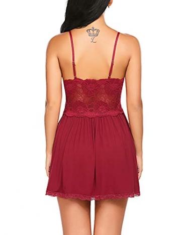 Lucyme Negligee für Damen Nachtwäsche Sleepwear Nachtkleid mit Spitzendetails - 5
