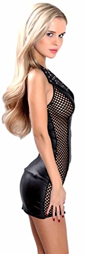 Miss Noir Damen MiniKleid im Wetlook Clubwear Partykleid Mesh-Einsätze V-Ausschnitt Lederlook (XXL, Schwarz) L118D-BK - 2