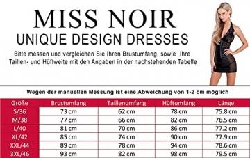 Miss Noir Damen MiniKleid im Wetlook Clubwear Partykleid Mesh-Einsätze V-Ausschnitt Lederlook (XXL, Schwarz) L118D-BK - 3