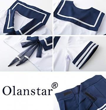 Olanstar Sexy Cosplay Schulmädchen Dessous Outfit Mini Sailor Anzug mit Strümpfen - 7
