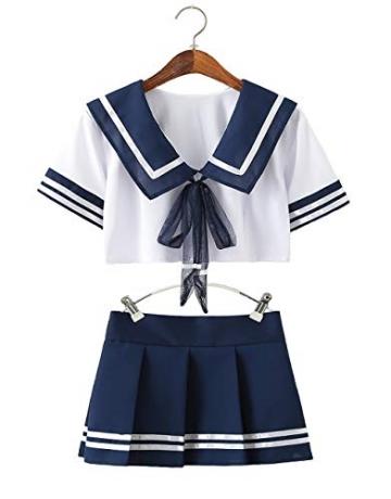 Olanstar Sexy Cosplay Schulmädchen Dessous Outfit Mini Sailor Anzug mit Strümpfen - 8