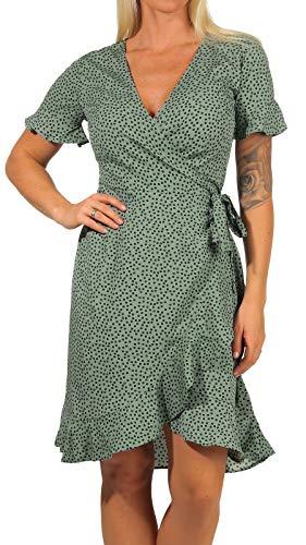ONLY Damen Kleid ONLOlivia Wrap 15206407 Chinos Green AOP: Black Spot 40 - 1