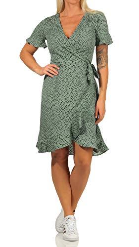 ONLY Damen Kleid ONLOlivia Wrap 15206407 Chinos Green AOP: Black Spot 40 - 2