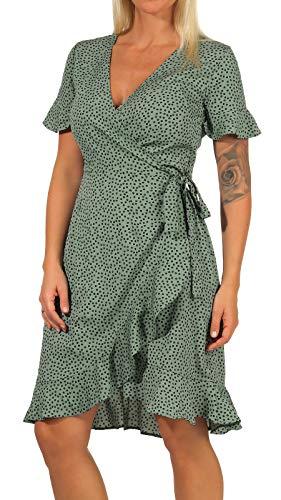 ONLY Damen Kleid ONLOlivia Wrap 15206407 Chinos Green AOP: Black Spot 40 - 3