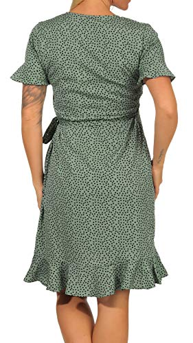 ONLY Damen Kleid ONLOlivia Wrap 15206407 Chinos Green AOP: Black Spot 40 - 4