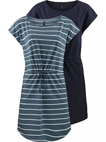 ONLY Damen Sommer Mini Kleid onlMAY S/S Dress 2er Pack Grösse XS S M L XL XXL Gestreift Schwarz 100% Baumwolle, Größe:XXL, Farbe:Blue Mirage Primo Stripe - 1