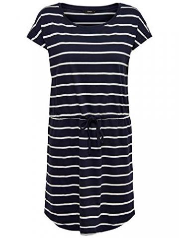 ONLY Damen Sommer Mini Kleid onlMAY S/S Dress 2er Pack XS S M L XL XXL Gestreift Schwarz 100% Baumwolle, Größe:XL, Farbe:Night Sky Primo & Apple Butter - 3