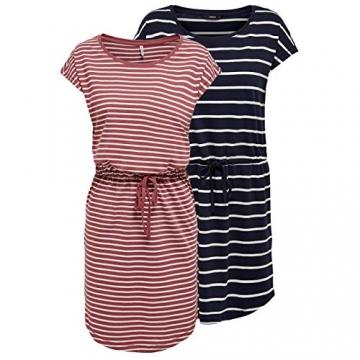 ONLY Damen Sommer Mini Kleid onlMAY S/S Dress 2er Pack XS S M L XL XXL Gestreift Schwarz 100% Baumwolle, Größe:XL, Farbe:Night Sky Primo & Apple Butter - 1