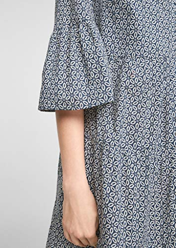 s.Oliver Damen Stufenkleid mit Tunika-Ausschnitt faded blue embroidery 46 - 3