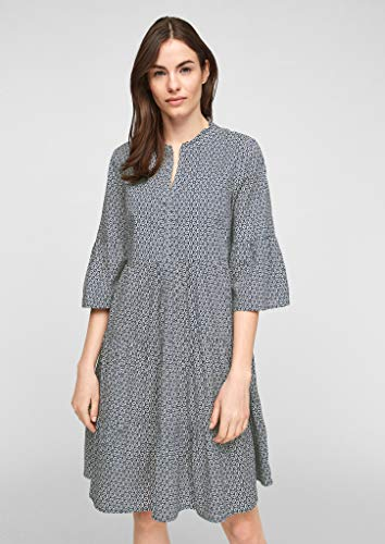 s.Oliver Damen Stufenkleid mit Tunika-Ausschnitt faded blue embroidery 46 - 5