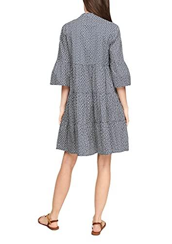 s.Oliver Damen Stufenkleid mit Tunika-Ausschnitt faded blue embroidery 46 - 7