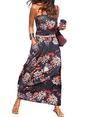 SEBOWEL Damen Maxikleid Sommer Boho Kleider Lang Bandeau Ärmelloses Sommerkleid Strandkleider Elegante Freizeitkleid CocktailKleider Abendkleid (L, Violett) - 1