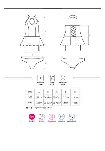 Selente Love & Fun verführerisches 3-teiliges Damen Dessous-Set aus Corsage mit Strapshaltern, Slip und exklusiver Satin-Augenbinde Made in EU (S/M, schwarz-Latex-Optik) - 4