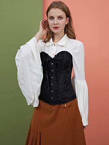ShiyiUP Spitze Korsett Bauchweg Vintage Korsage Überbrust Damen Taillenformer Shaperwear Push UP - 4