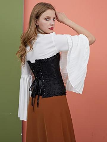 ShiyiUP Spitze Korsett Bauchweg Vintage Korsage Überbrust Damen Taillenformer Shaperwear Push UP - 5