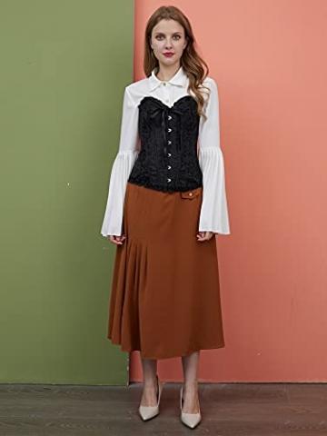 ShiyiUP Spitze Korsett Bauchweg Vintage Korsage Überbrust Damen Taillenformer Shaperwear Push UP - 8