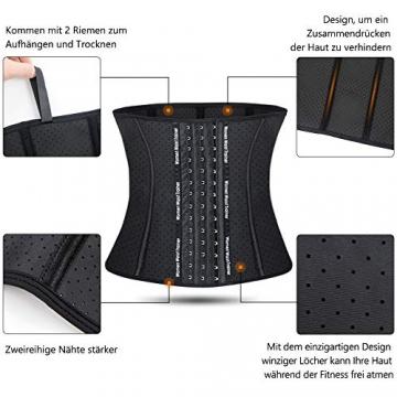 SIMIYA Damen Korsett, Latex Waist Trainer Unterbrust Taillenmieder, Figurformend Bauchweg Korsage (S, Schwarz) - 3