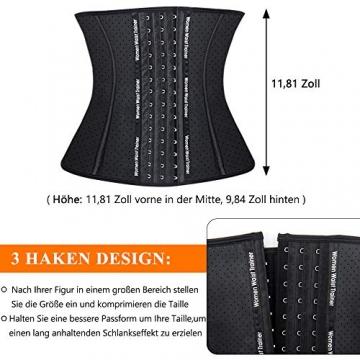 SIMIYA Damen Korsett, Latex Waist Trainer Unterbrust Taillenmieder, Figurformend Bauchweg Korsage (S, Schwarz) - 5