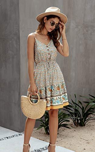 Spec4Y Damen Kleider Kurz Blumen Sommerkleid Swing V Ausschnitt Ärmellos Minikleid A Linie Skatekleid 192 Aprikose Medium - 2