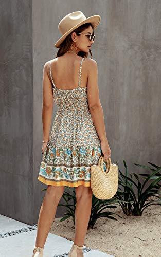 Spec4Y Damen Kleider Kurz Blumen Sommerkleid Swing V Ausschnitt Ärmellos Minikleid A Linie Skatekleid 192 Aprikose Medium - 3