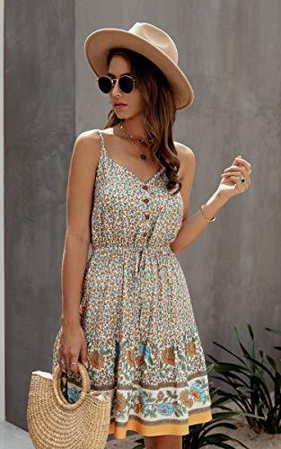 Spec4Y Damen Kleider Kurz Blumen Sommerkleid Swing V Ausschnitt Ärmellos Minikleid A Linie Skatekleid 192 Aprikose Medium - 4