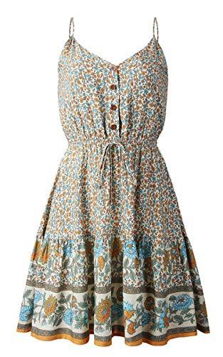 Spec4Y Damen Kleider Kurz Blumen Sommerkleid Swing V Ausschnitt Ärmellos Minikleid A Linie Skatekleid 192 Aprikose Medium - 5