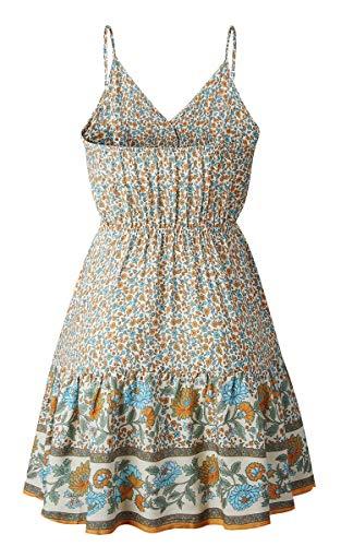 Spec4Y Damen Kleider Kurz Blumen Sommerkleid Swing V Ausschnitt Ärmellos Minikleid A Linie Skatekleid 192 Aprikose Medium - 6