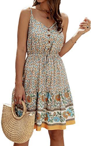 Spec4Y Damen Kleider Kurz Blumen Sommerkleid Swing V Ausschnitt Ärmellos Minikleid A Linie Skatekleid 192 Aprikose Medium - 1