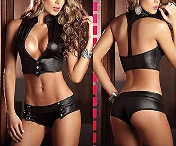 Sxybox Damen Sexy Dessous Erotik Wetlook Neckholder Top BH & Mini Rock Schwarz 2 Stück Set - 4