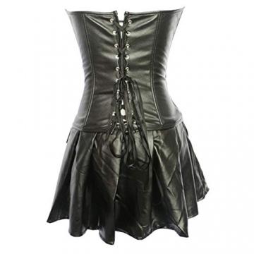 Sxybox Damen Sexy Gothic Kunstleder Korsett Korsage Korsagenkleid Vollbrust Corsagenkleid Dessous Clubwear,Schwarz,XL - 4