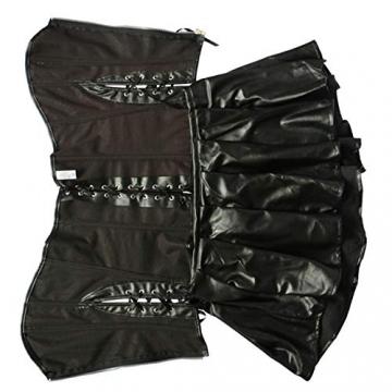 Sxybox Damen Sexy Gothic Kunstleder Korsett Korsage Korsagenkleid Vollbrust Corsagenkleid Dessous Clubwear,Schwarz,XL - 6