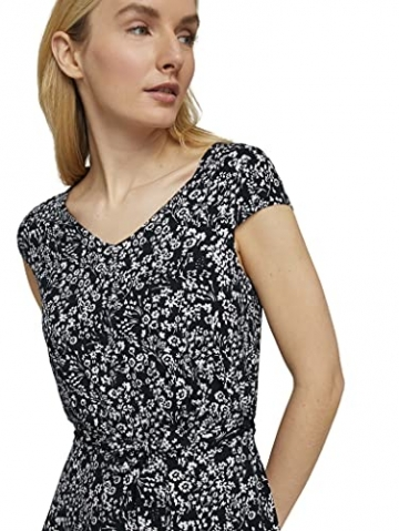 TOM TAILOR Damen 1026052 Feminine Kleid, 27224-Navy Offwhite Flower, 42 - 6
