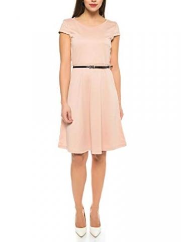 VERO MODA Damen Kleid mit kurz Arm und Gürtel in rosa - Sommer Cocktail-Kleid, Farbe:Pink, Größe:M - 1