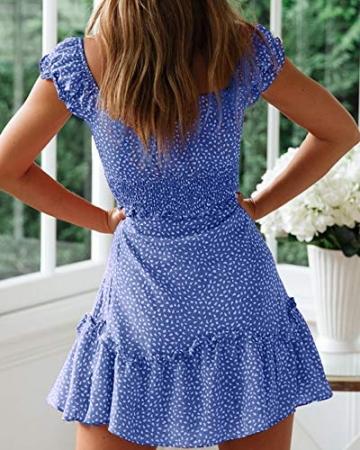 Ybenlover Damen Blumen Sommerkleid High Waist Volant Kleid Vintage Minikleid Strandkleid, Blau, M - 2