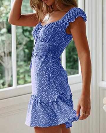 Ybenlover Damen Blumen Sommerkleid High Waist Volant Kleid Vintage Minikleid Strandkleid, Blau, M - 3