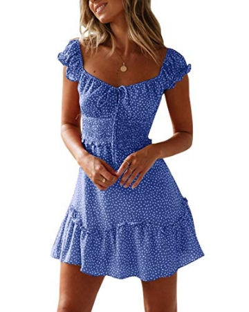 Ybenlover Damen Blumen Sommerkleid High Waist Volant Kleid Vintage Minikleid Strandkleid, Blau, M - 1