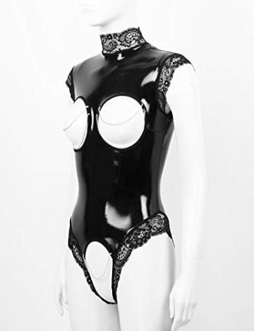 YiZYiF Damen Wetlook Bodysuit Brust Offen Body Catsuit Top Shirt Spitze Stringbody Erotik Lack Leder Dessous Trikot Babydoll Lingerie Crotchless Schwarz S - 4